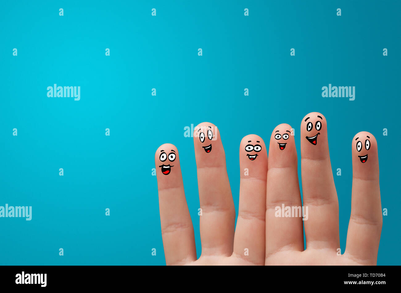 Happy face fingers hug each other  - Stock Image