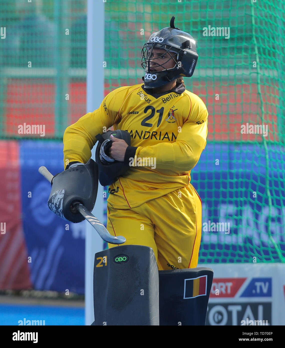 Krefeld, Germany, June 12 2019, Hockey, FIH Pro League, women, Germany vs. Belgium : Goalie Aisling D Hooghe. - Stock Image