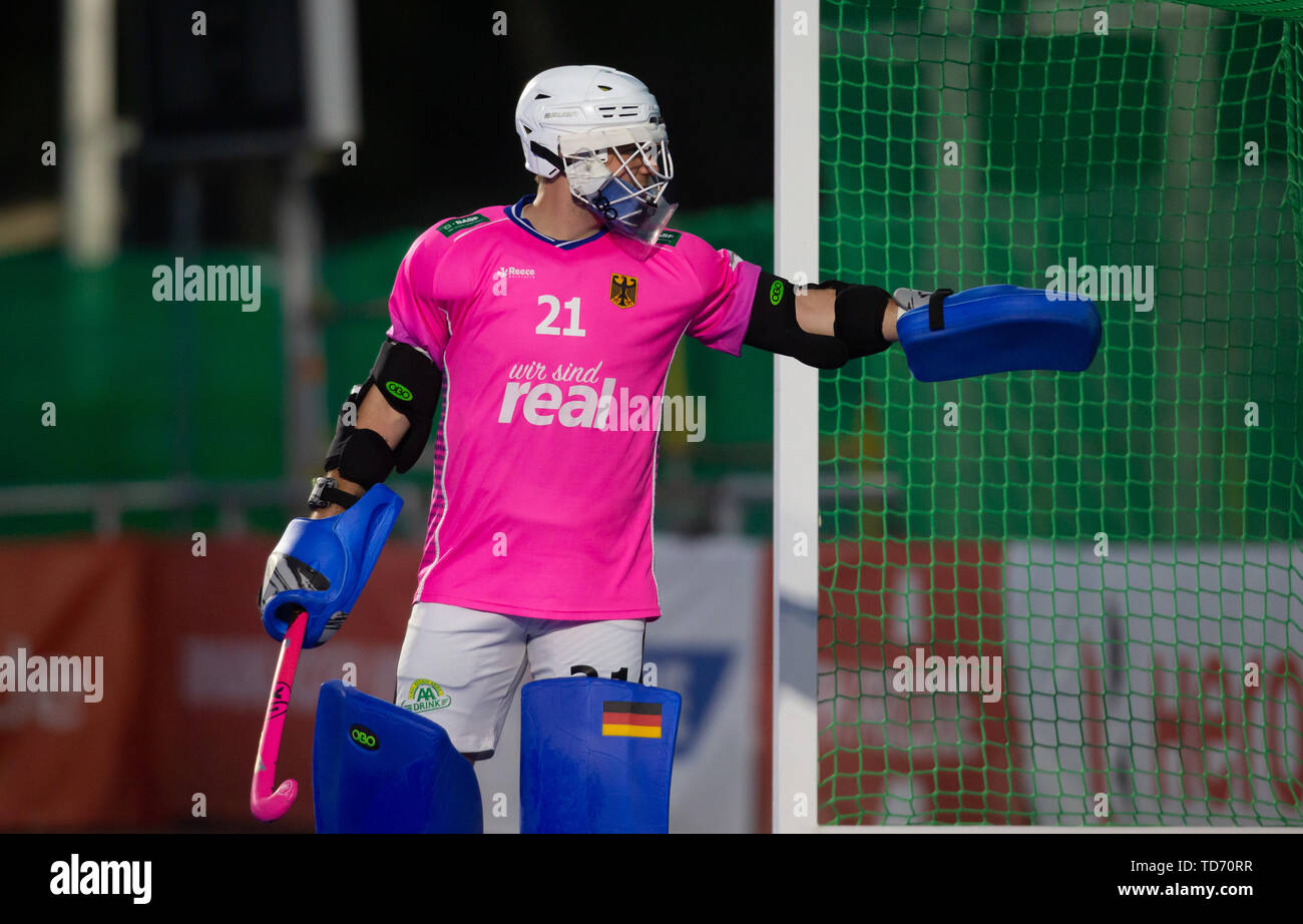 Krefeld, Germany, 12.06.2019, Hockey, FIH Pro League, men, Germany vs. Belgium: Tobias Walter (Germany) gestures. - Stock Image