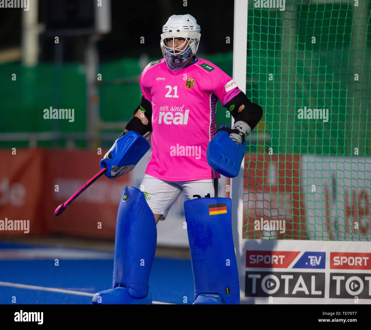 Krefeld, Germany, 12.06.2019, Hockey, FIH Pro League, men, Germany vs. Belgium: Tobias Walter (Germany) looks on. - Stock Image