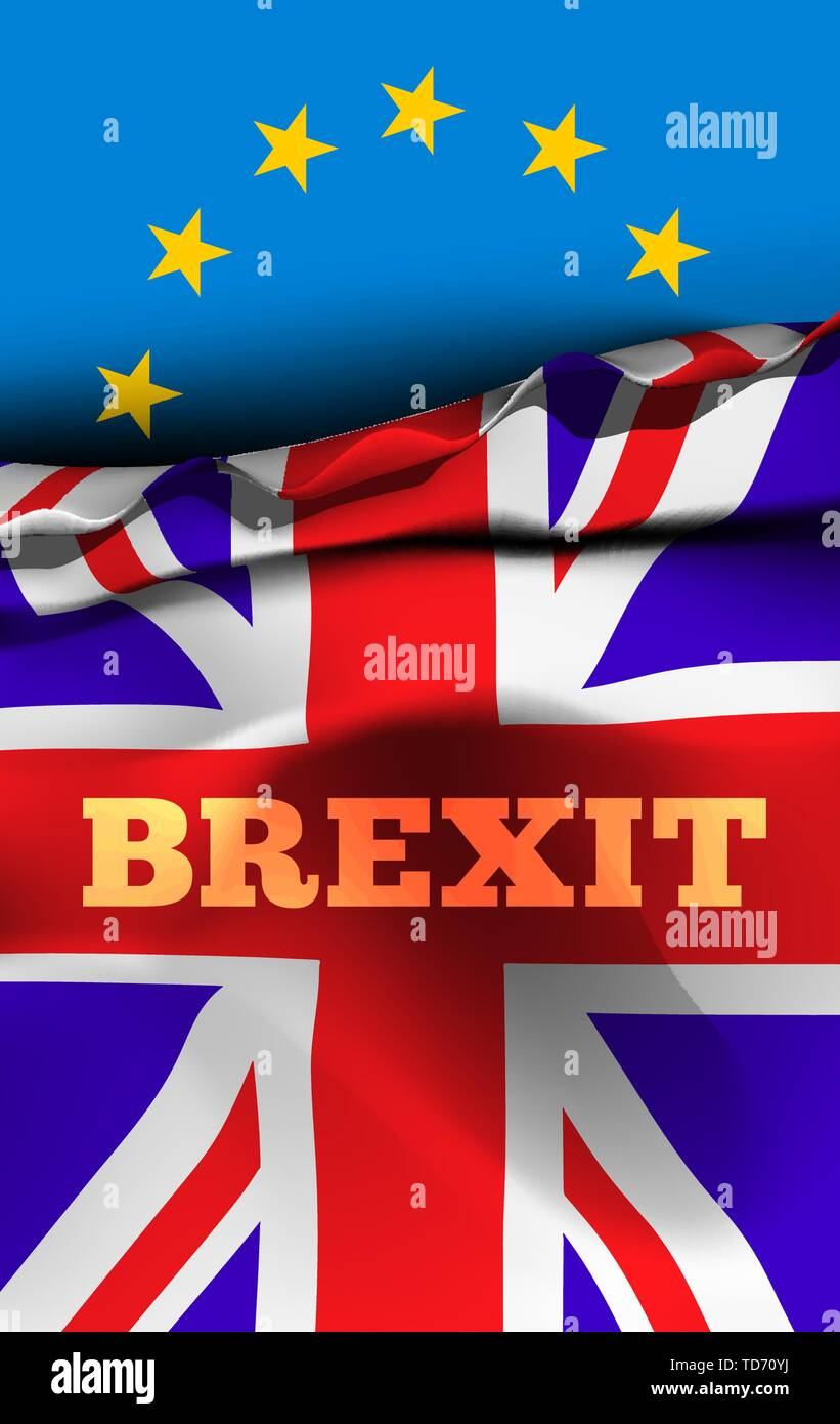 Brexit, the exit of Great Britain from the European Union. Vector illustration with flags of UK and EU - Stock Image