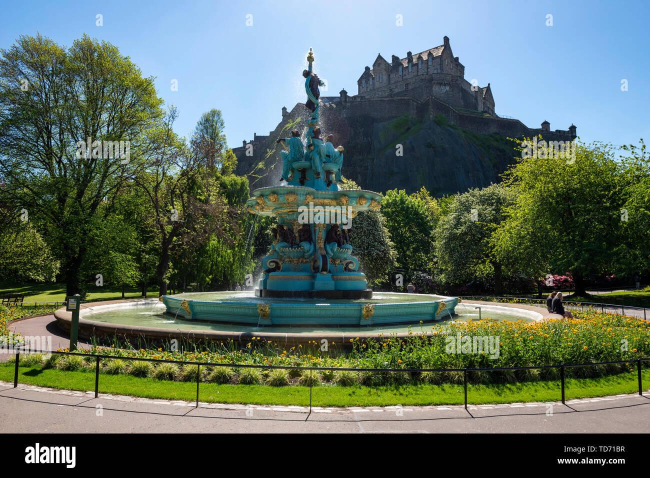 Refurbished Ross Fountain in West Princes Street Gardens in Edinburgh, Scotland, UK - Stock Image