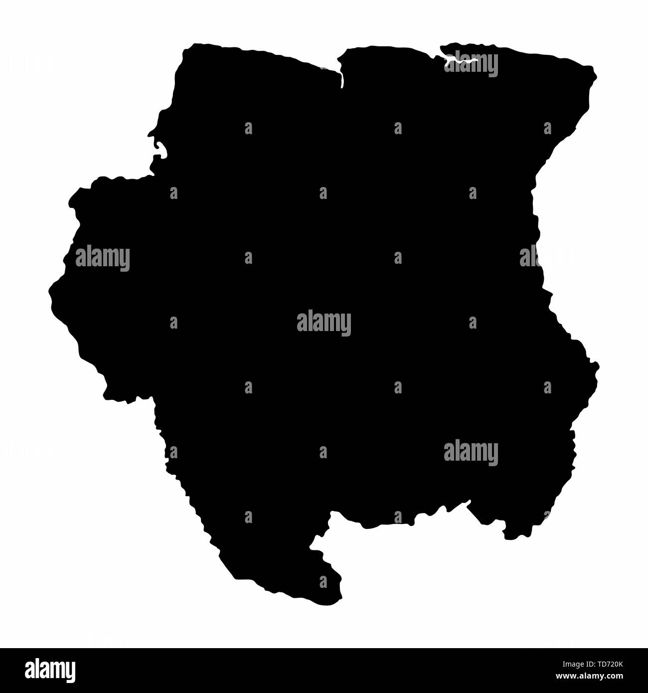 Suriname dark silhouette map isolated on white background - Stock Image