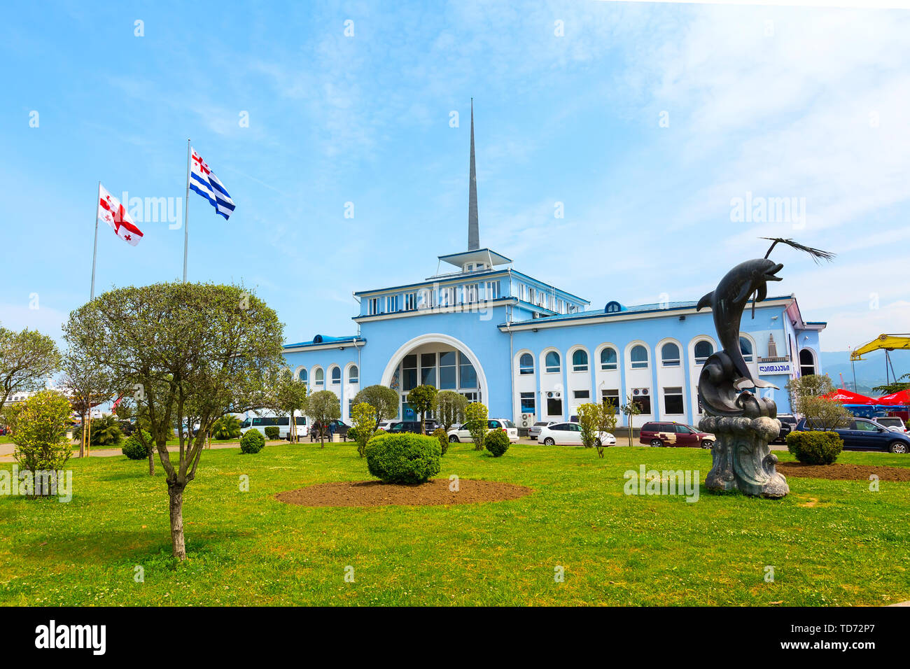 Batumi, Georgia - May 2, 2017: City panoramic landscape with Batumi Sea Port at summer Black sea resort - Stock Image