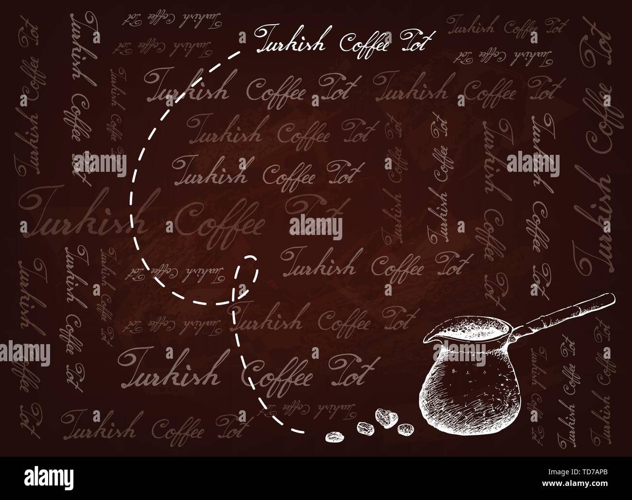 Turkish Cuisine, Turkish Coffee with Cezve or Coffee Pot on Brown Background. One of The Popular Drink in Turkey. - Stock Vector