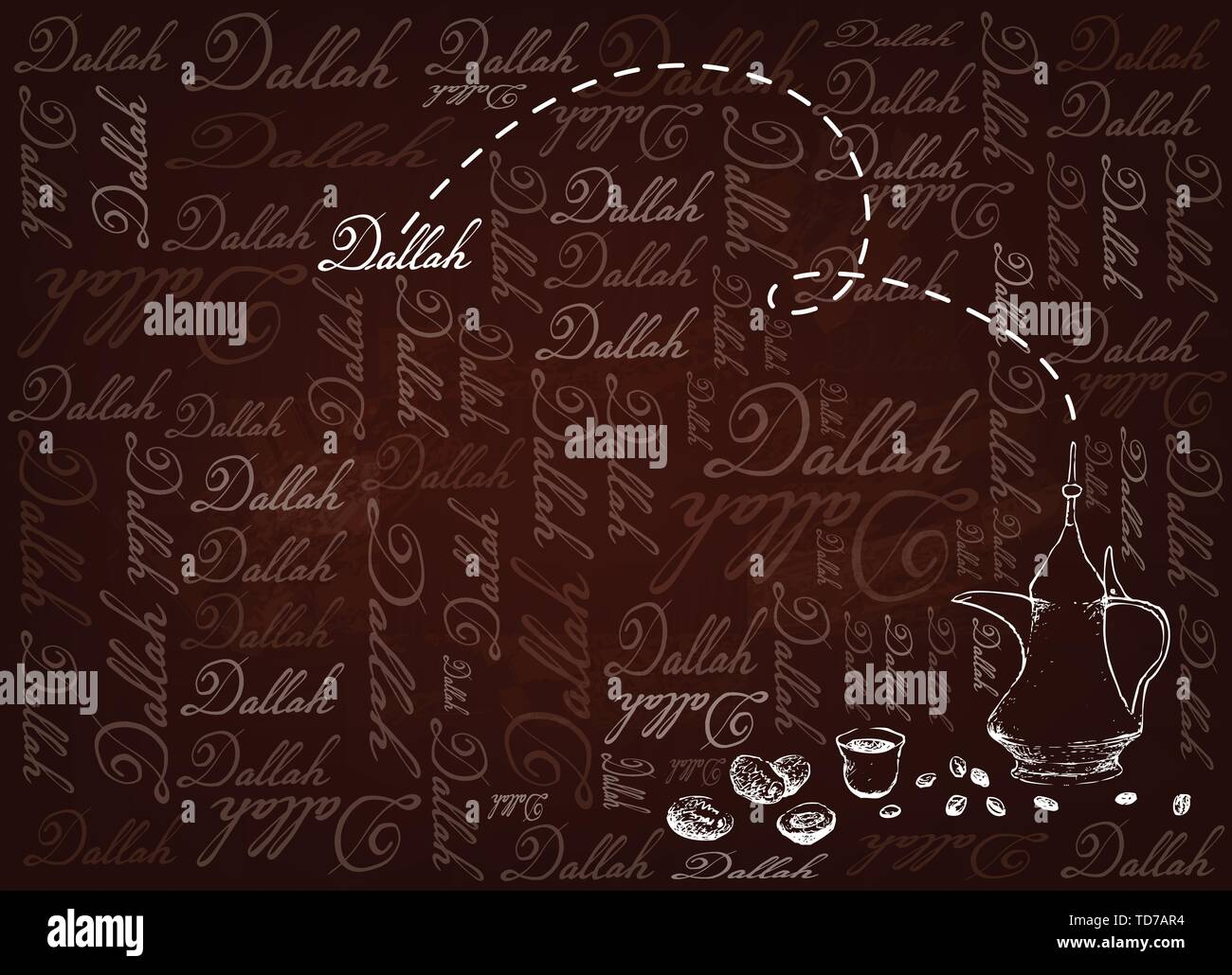 Turkish Cuisine, Hot Coffee with Dallah or Arabic Coffee on Brown Background, Used for Centuries to Brew and Serve Qahwa or Gahwa. - Stock Vector