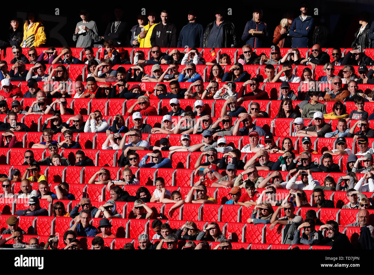 Valenciennes, France. 12th June, 2019. Fans watch the Group B match between Germany and Spain at the 2019 FIFA Women's World Cup in Valenciennes, France, June 12, 2019. Germany won 1-0 . Credit: Zheng Huansong/Xinhua/Alamy Live News Stock Photo