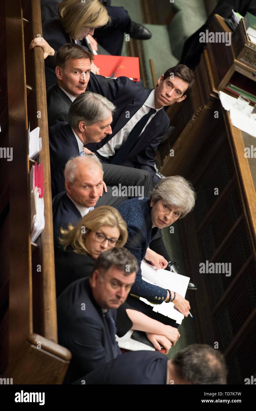 Beijing, Britain. 12th June, 2019. British Prime Minister Theresa May attends the Prime Minister's Questions at the House of Commons in London, Britain, on June 12, 2019. Credit: UK Parliament/Mark Duffy/Xinhua/Alamy Live News Stock Photo