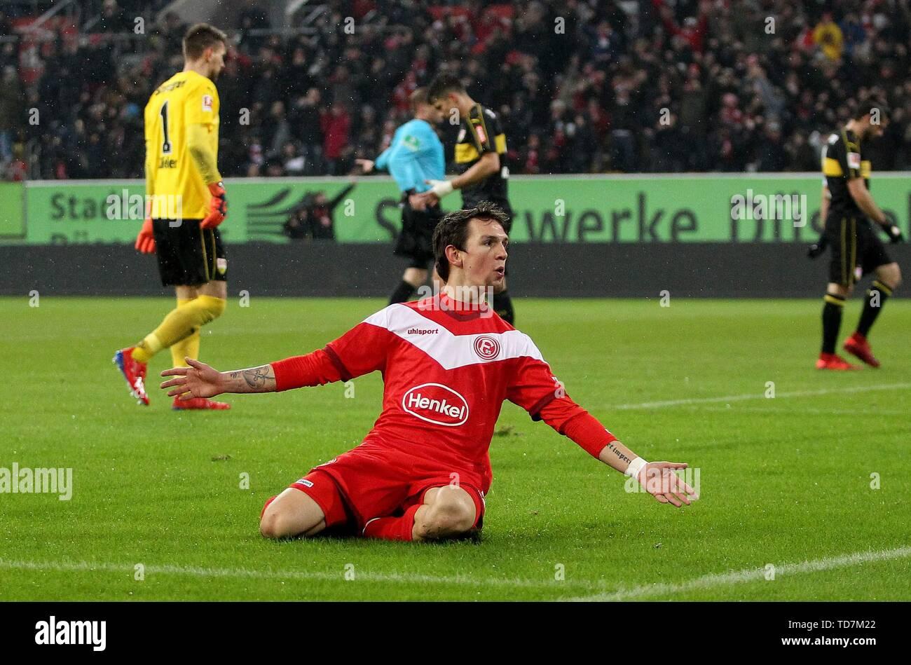 firo: 10.02.2019, Fuvuball, 1.Bundesliga, season 2018/2019, Fortuna Dv? seldorf - VfB Stuttgart, goal to 3: 0, Benito RAMAN, Fortuna Dv? seldorf, goaljubel, jubilation, joy, | usage worldwide - Stock Image