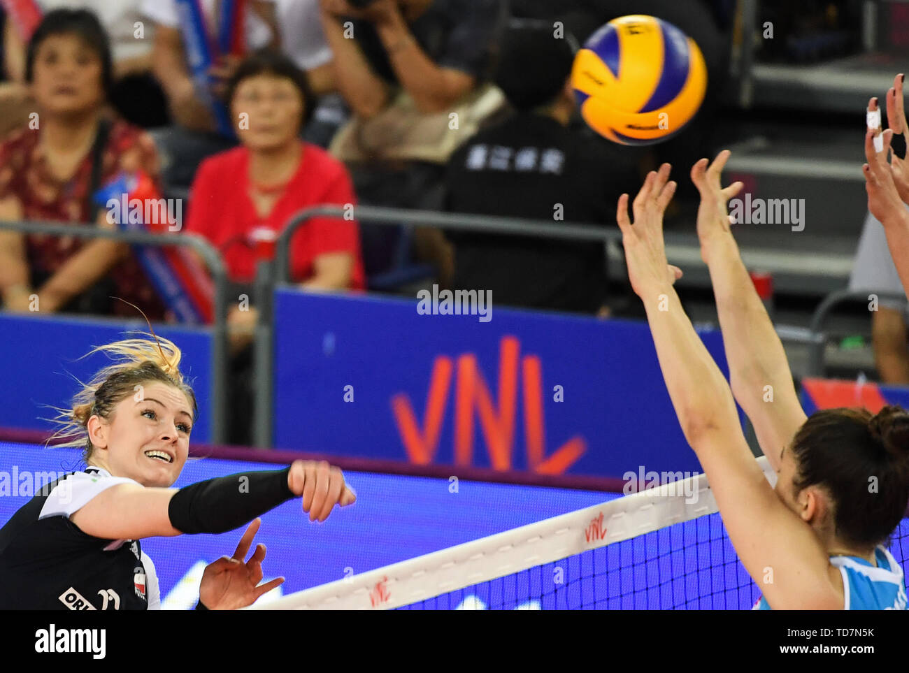 190613 Jiangmen June 13 2019 Xinhua Martyna Grajber Of Poland Spikes The Ball At