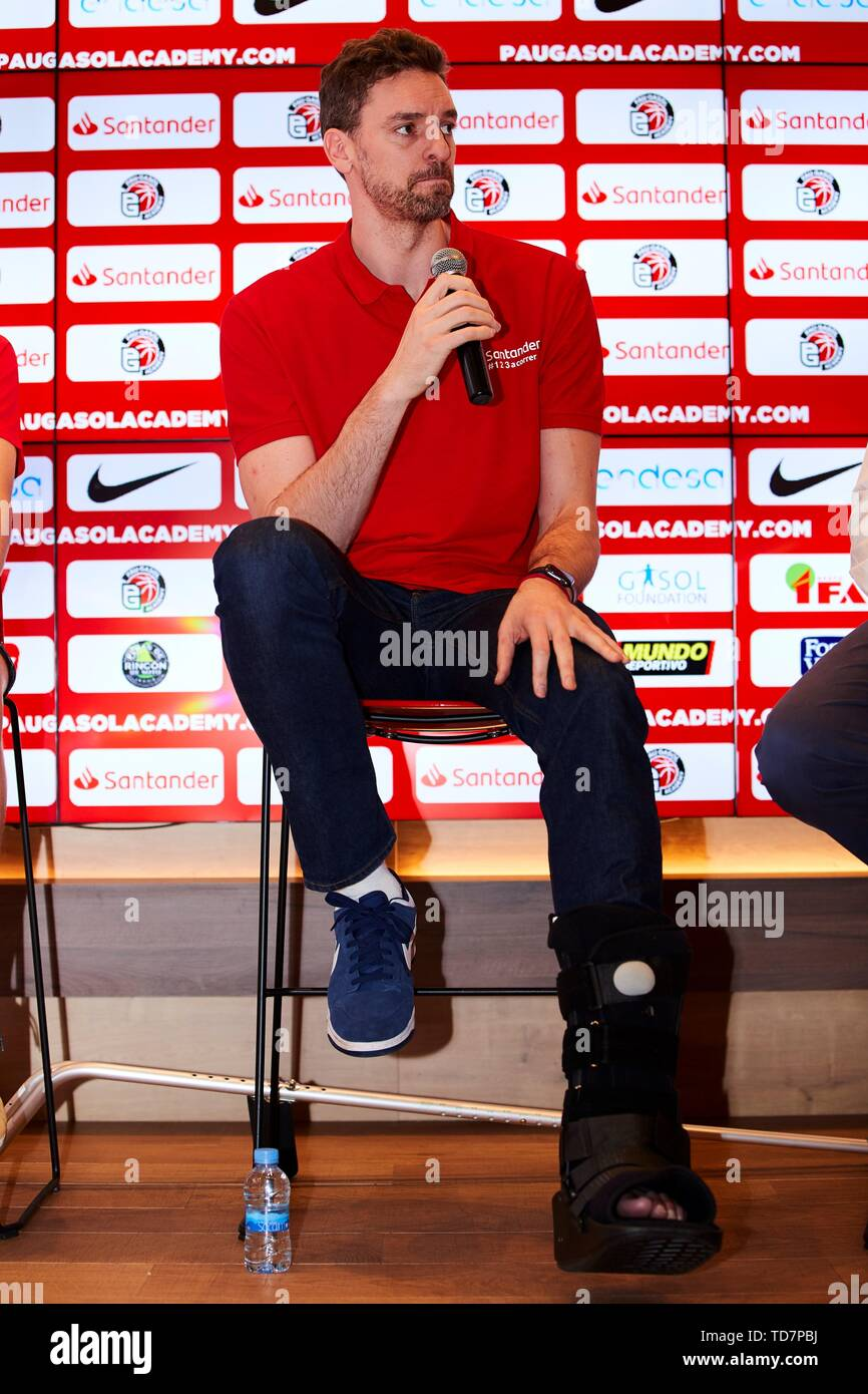 Barcelona, Spain. 13th June, 2019. Milwaukee Bucks center Pau Gasol of Spain speaks during the presentation of the Pau Gasol Academy by Santander in Barcelona, Spain, 13 June 2019. Gasol said during the event that he is looking forward recovering from his injury in his left foot and being able to participate in Tokyo 2020 Games. Credit: Alejandro García/EFE/Alamy Live News - Stock Image