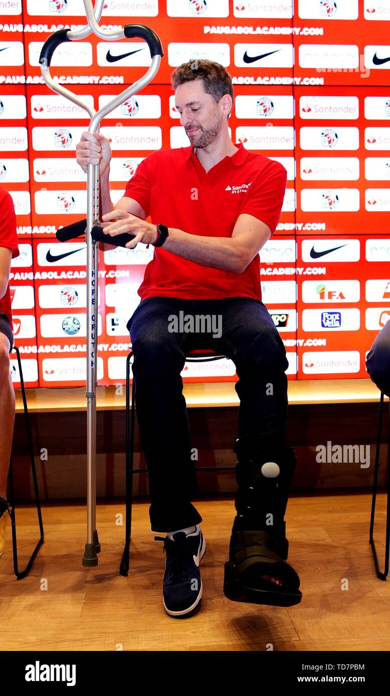 Barcelona, Spain. 13th June, 2019. Milwaukee Bucks center Pau Gasol of Spain attends the presentation of the Pau Gasol Academy by Santander in Barcelona, Spain, 13 June 2019. Gasol said during the event that he is looking forward recovering from his injury in his left foot and being able to participate in Tokyo 2020 Games. Credit: Alejandro García/EFE/Alamy Live News - Stock Image