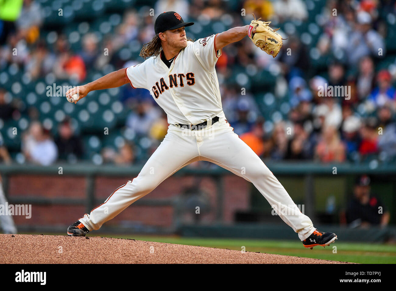 San Francisco, California, USA. 12th June, 2019. San Francisco Giants starting pitcher Shaun Anderson (64) throw the opening pitch during the MLB game between the San Diego Padres and the San Francisco Giants at Oracle Park in San Francisco, California. Chris Brown/CSM/Alamy Live News - Stock Image
