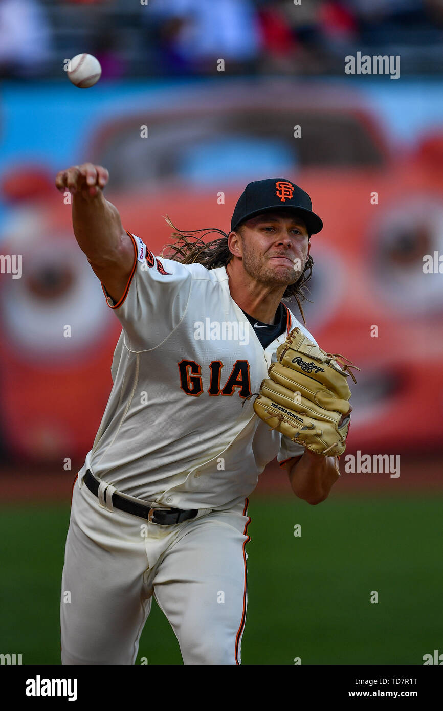San Francisco, California, USA. 12th June, 2019. San Francisco Giants starting pitcher Shaun Anderson (64) warms up before the MLB game between the San Diego Padres and the San Francisco Giants at Oracle Park in San Francisco, California. Chris Brown/CSM/Alamy Live News - Stock Image