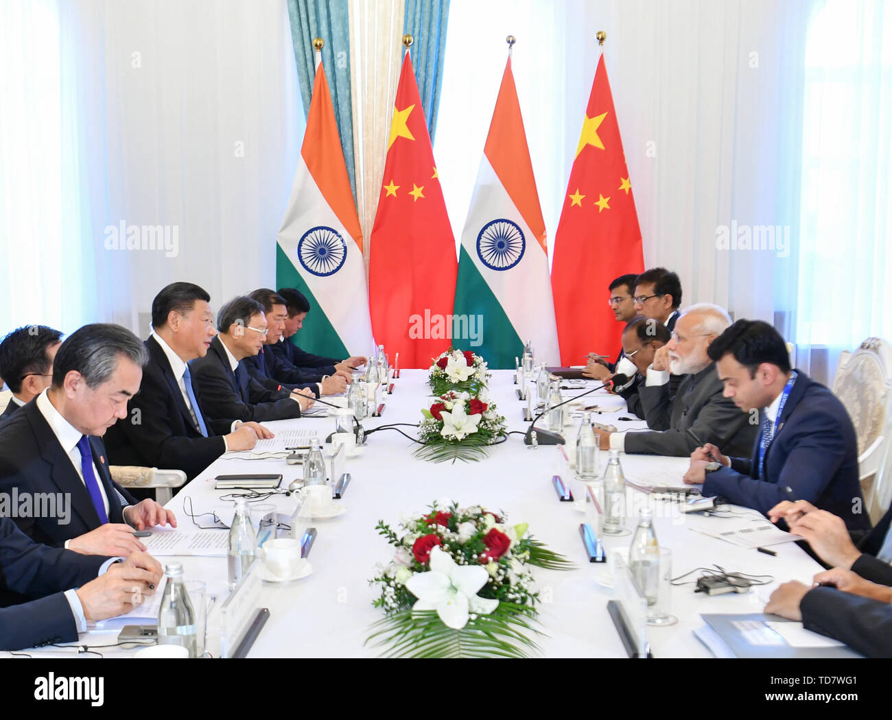 Bishkek, Kyrgyzstan. 13th June, 2019. Chinese President Xi Jinping meets with Indian Prime Minister Narendra Modi in Bishkek, Kyrgyzstan, June 13, 2019. Credit: Yin Bogu/Xinhua/Alamy Live News - Stock Image
