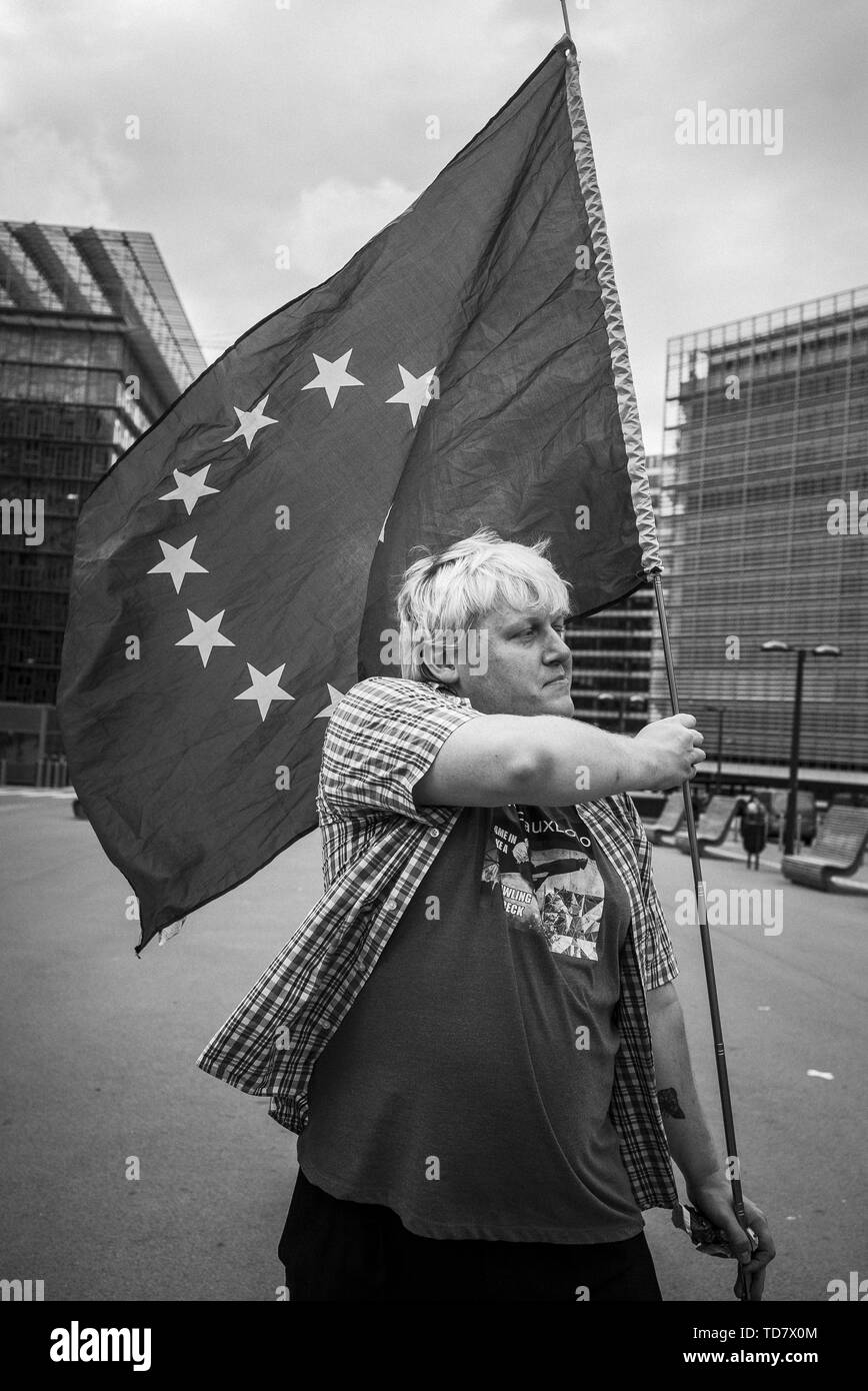 Anti-Brexit activist Drew Galdron and impersonator of British Foreign Minister Boris Johnson takes part in March against Brexit in front of EU headquarters in Brussels, Belgium on 05.09.2017 by Wiktor Dabkowski | usage worldwide Stock Photo
