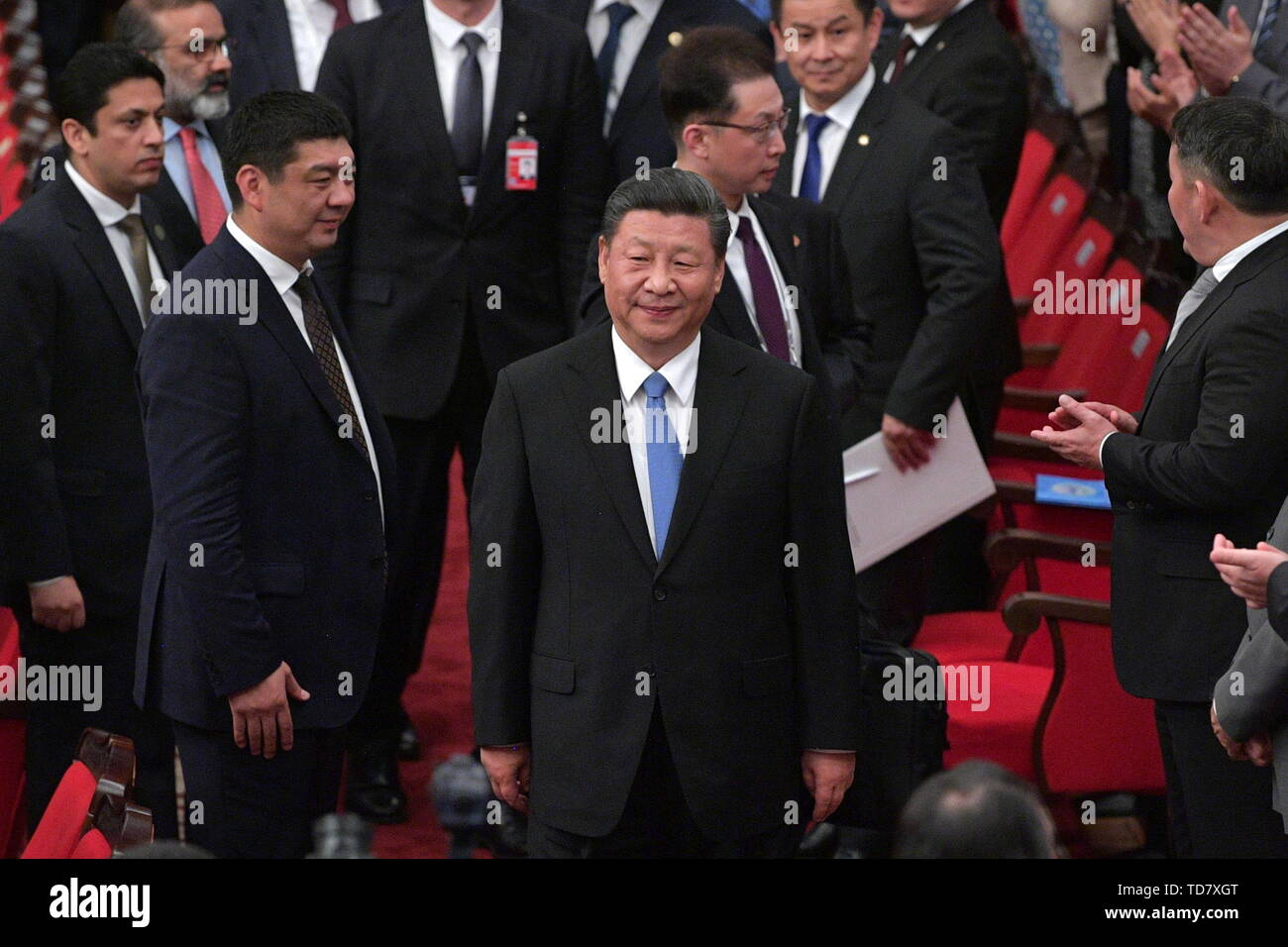 Bishkek, Kyrgyzstan. 13th June, 2019. BISHKEK, KYRGYZSTAN - JUNE 13, 2019: China's President Xi Jinping (C) ahead of a gala concert marking a meeting of the SCO (Shanghai Cooperation Organisation) Council of Heads of State. Alexei Druzhinin/Russian Presidential Press and Information Office/TASS Credit: ITAR-TASS News Agency/Alamy Live News - Stock Image