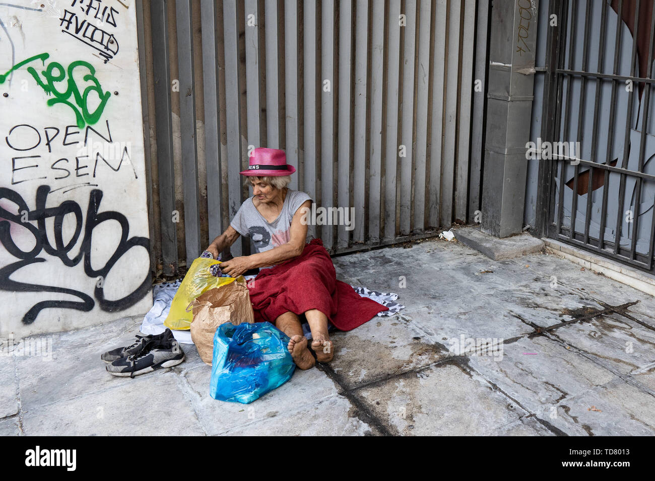 Athens, Athens, Greece  12th June, 2019  A homeless woman with
