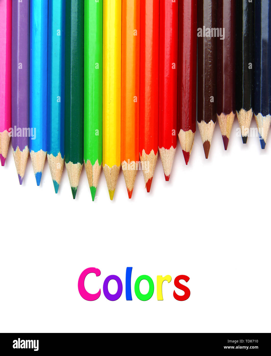 Colour pencils isolated on white - Stock Image