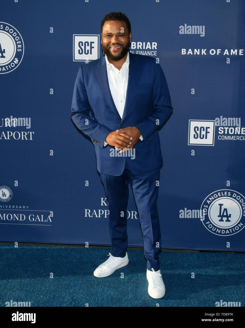 June 12, 2019 - Los Angeles, California, USA - 12, June 2019 - Los Angeles, California. Anthony Anderson attends the Los Angeles Dodgers Foundation Blue Diamond Gala at Dodger Stadium. (Credit Image: © Billy Bennight/ZUMA Wire) - Stock Image