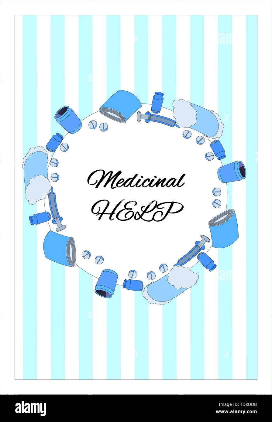 Medical poster with space for text and a frame of pills, cotton wool, bandage and syringes. Round wreath of pills on a striped background. Paper sheet - Stock Vector