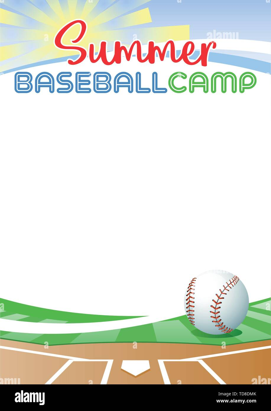 Summer Baseball Camp. Template poster with realistic baseball ball. Place for your text message. Vector illustration. Stock Vector