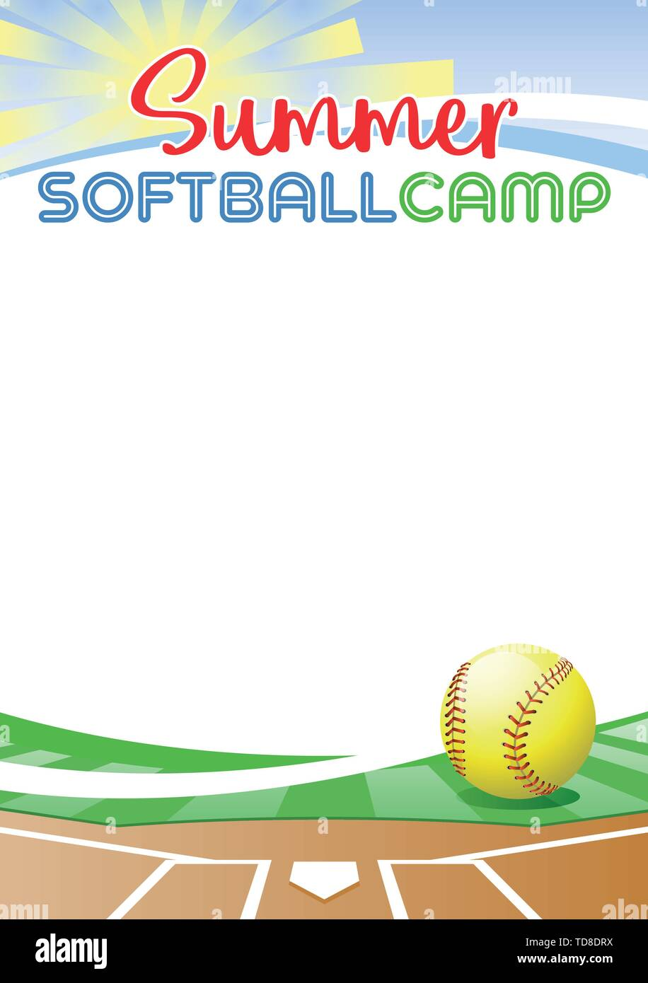 Summer Softball Camp. Template poster with realistic softball ball. Place for your text message. Vector illustration. Stock Vector