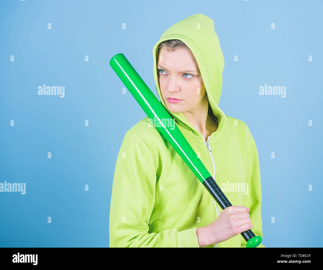 Sport equipment. Athletic fitness. woman workout with baseball bat. Fighting with aggression. aggressive woman with bat. Street life. Sporty girl figh - Stock Image