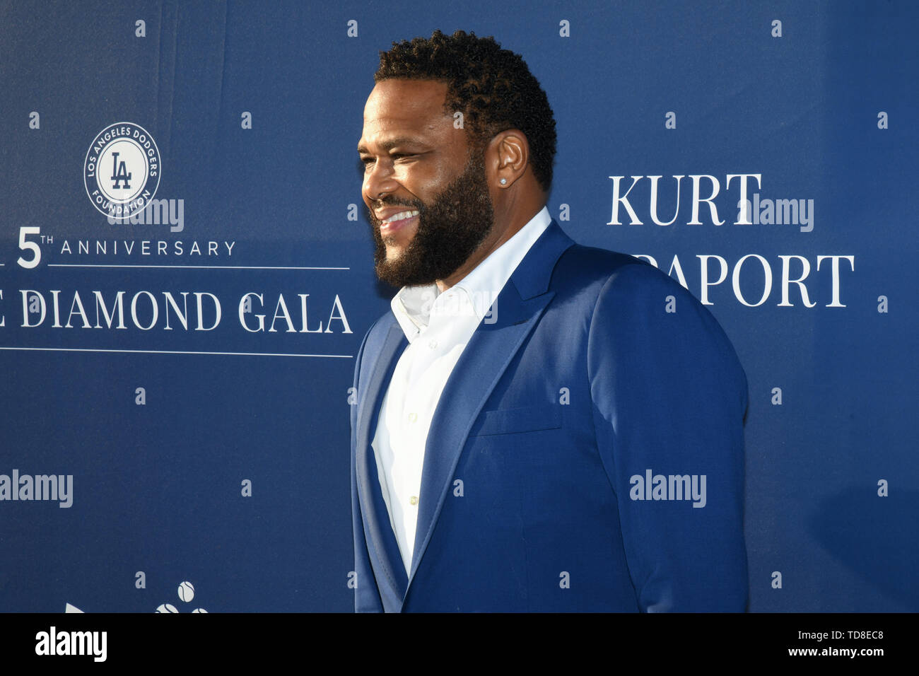 June 12, 2019 - Los Angeles, California, U.S. - 12 June 2019 - Los Angeles, California - Anthony Anderson. Los Angeles Dodgers Foundation Blue Diamond Gala held at Dodger Stadium. Photo Credit: Billy Bennight/AdMedia (Credit Image: © Billy Bennight/AdMedia via ZUMA Wire) - Stock Image