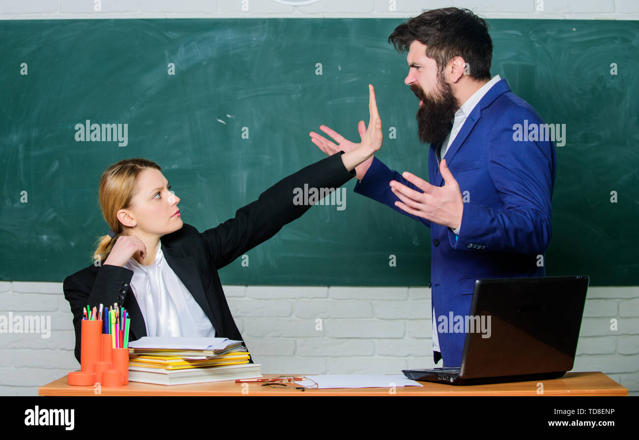 Please shut up. Tired of complaints. Indifferent about objection. Dismissed objection. School teacher and parent. Stop talking to me. Criticism and objection concept. Teacher wants man to shut up. - Stock Image