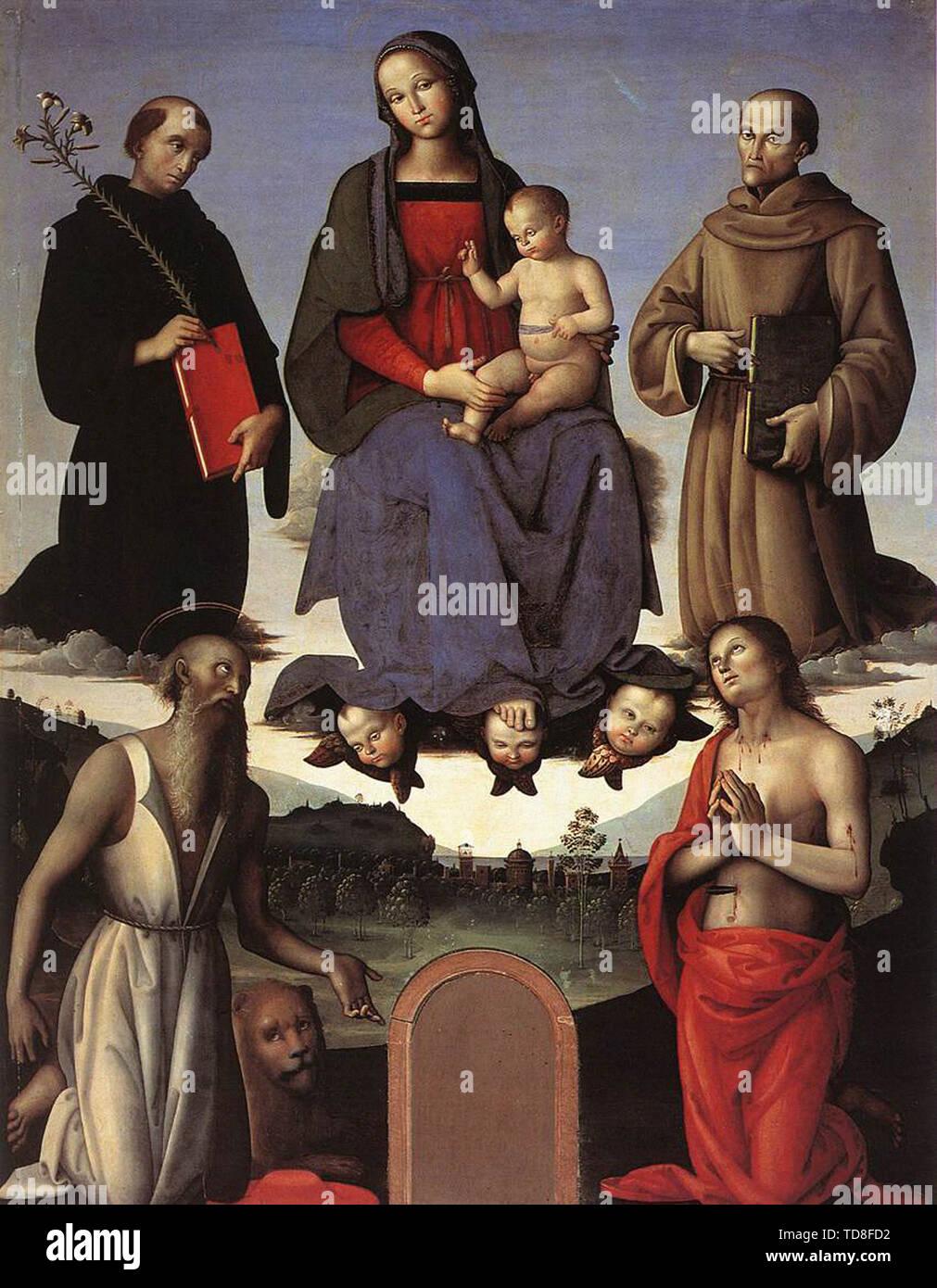 Pietro Perugino - Madonn Child With Four Saints Tezi Altarpiece 1500 - Stock Image