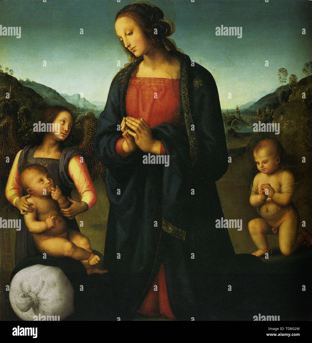 Pietro Perugino - Virgin With Child St John An Angel Madonn Del Sacco 1500 - Stock Image