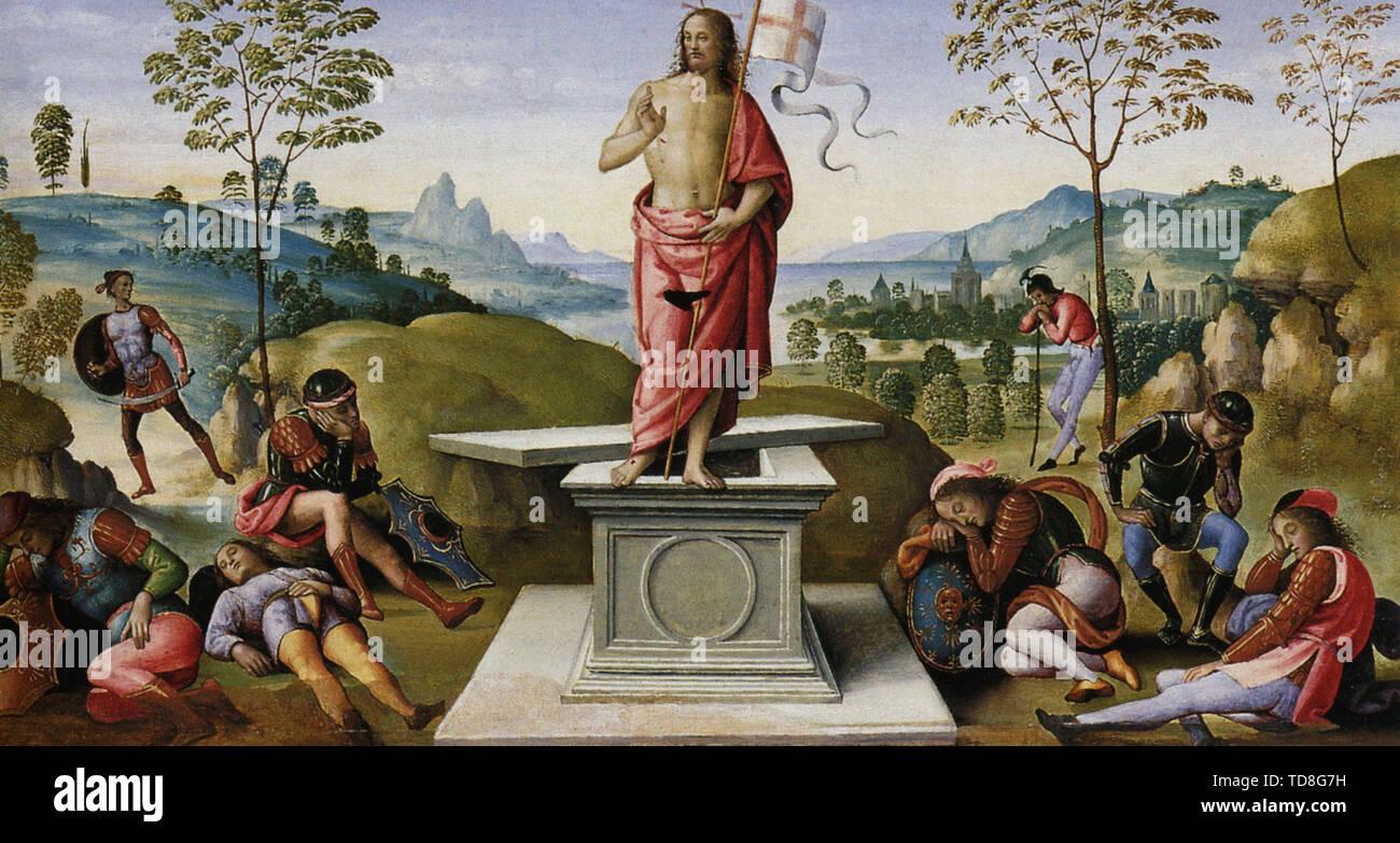Pietro Perugino - Polyptych St Peter Resurrection 1500 - Stock Image
