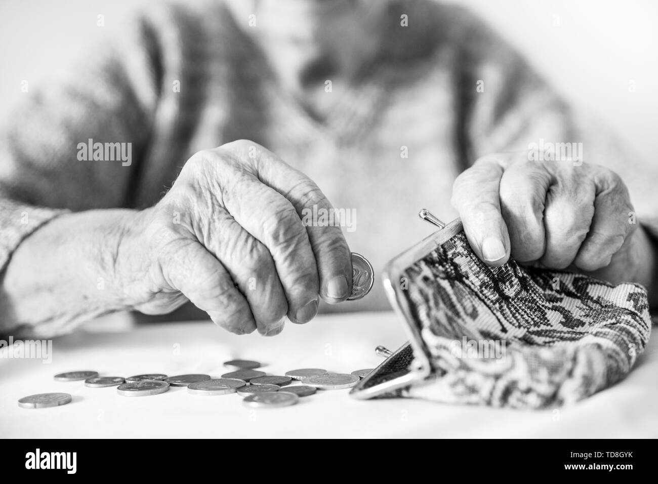 Detailed closeup photo of unrecognizable elderly womans hands counting remaining coins from pension in her wallet after paying bills. - Stock Image