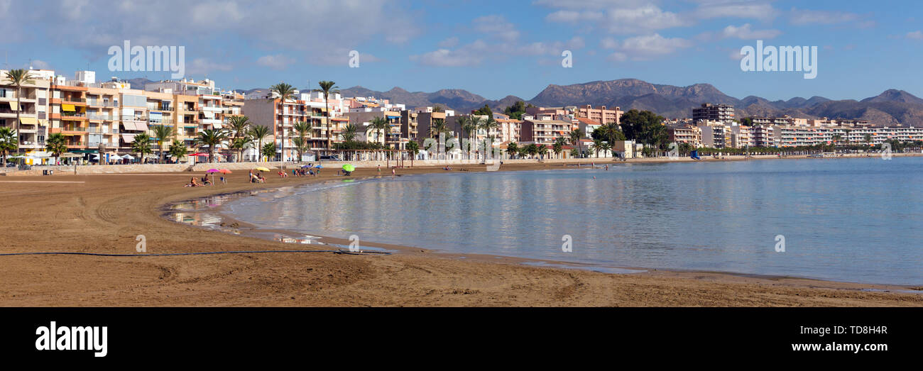 Puerto de Mazarron beach Murcia Spain with blue sky and sea panoramic view - Stock Image