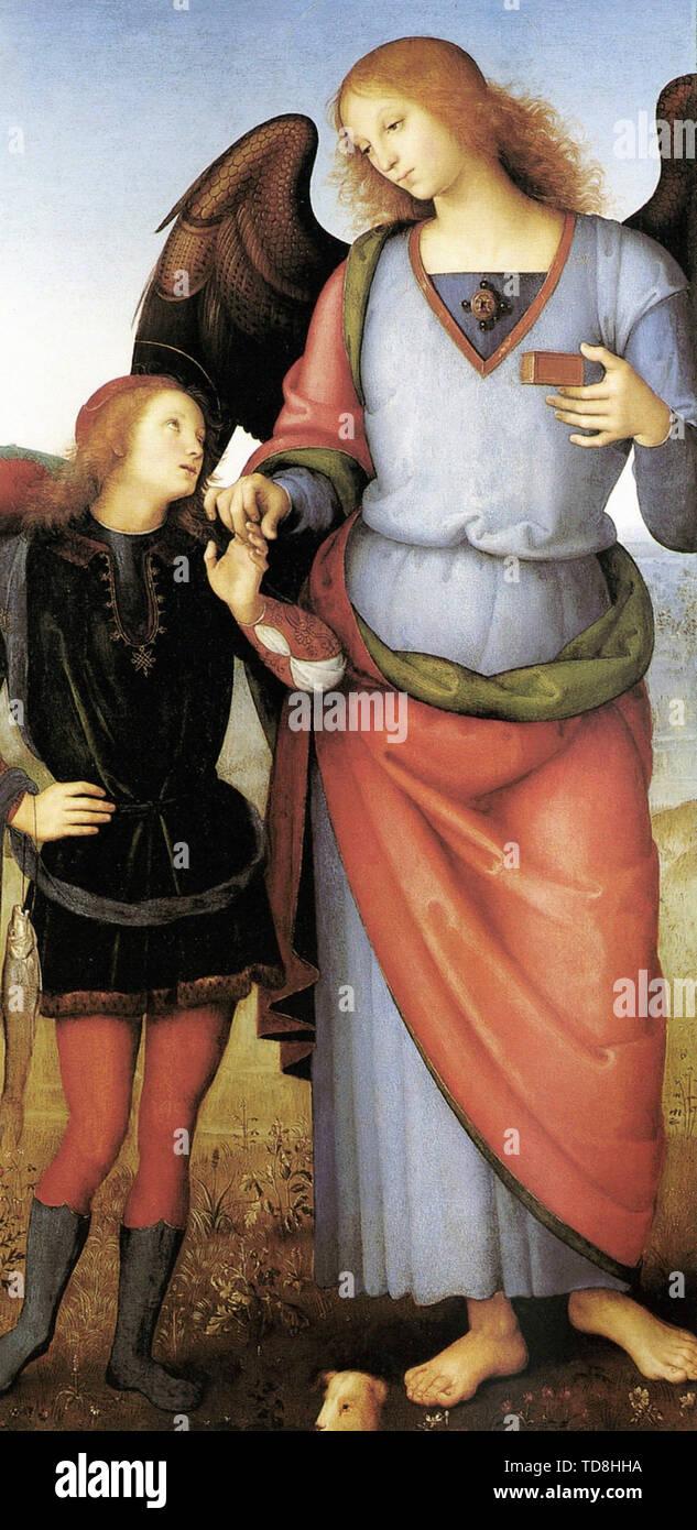 Pietro Perugino - Archangel Raphael With Tobias C 1500 - Stock Image