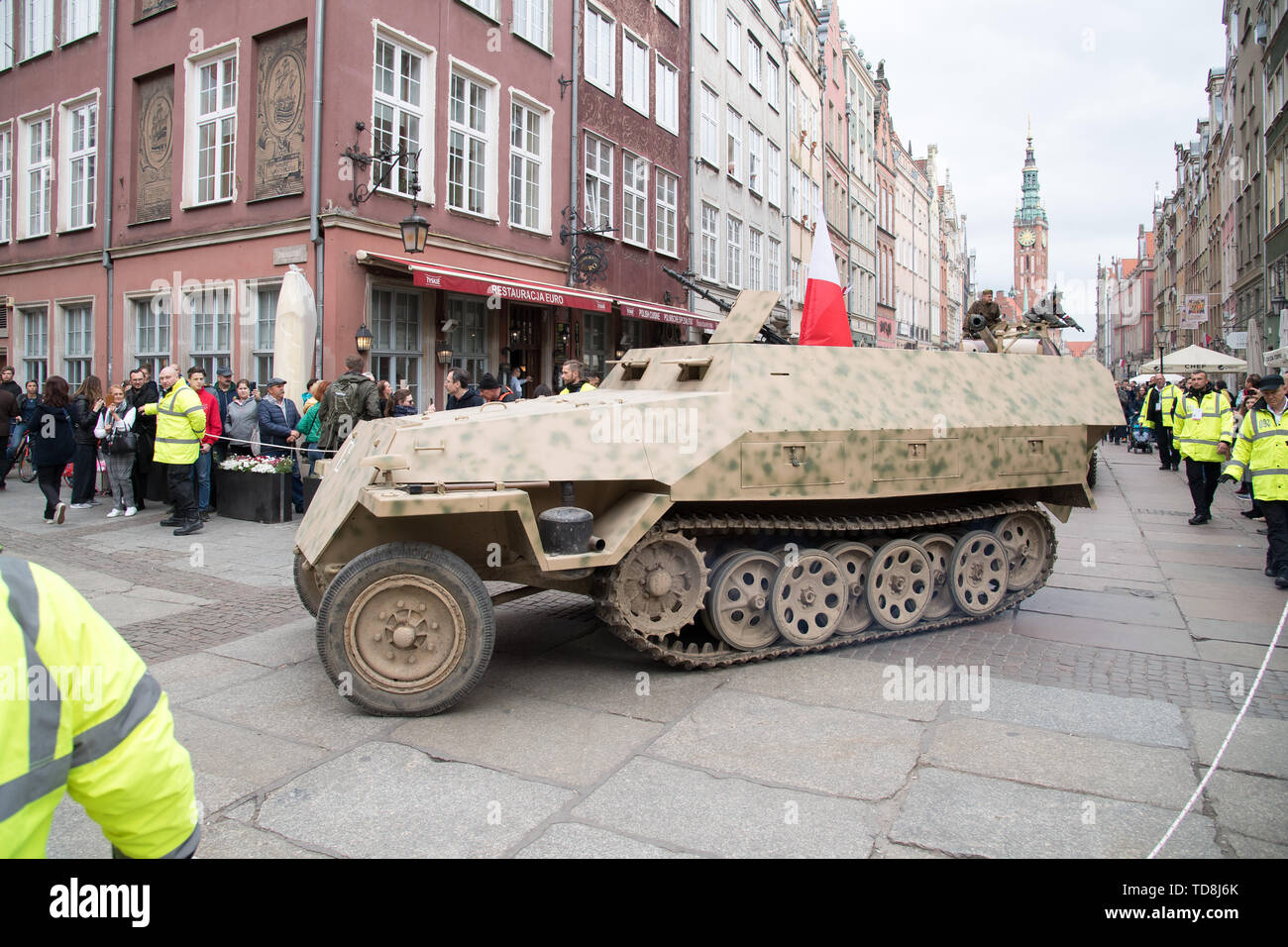 Reconstruction of WWII German Sd.Kfz. 251 armored car during Victory Parade in Gdansk, Poland. May 11th 2019. In the early days of the Warsaw Uprising - Stock Image
