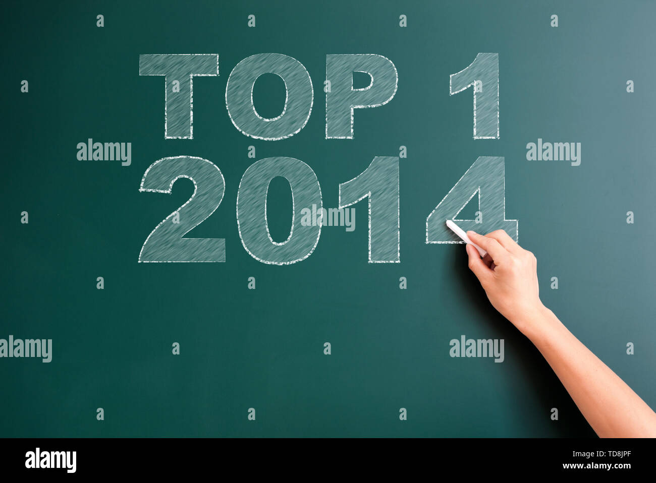 top 1 2014 written on blackboard - Stock Image