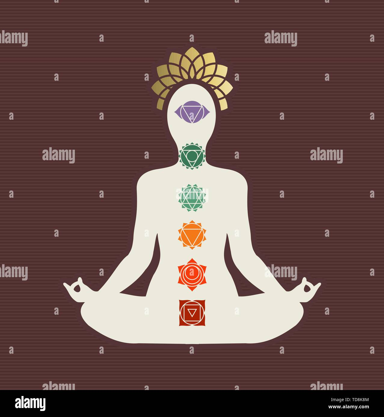 Woman Silhouette Doing Lotus Yoga Pose With Colorful Indian Chakra Icons Zen Meditation Concept Stock Vector Image Art Alamy