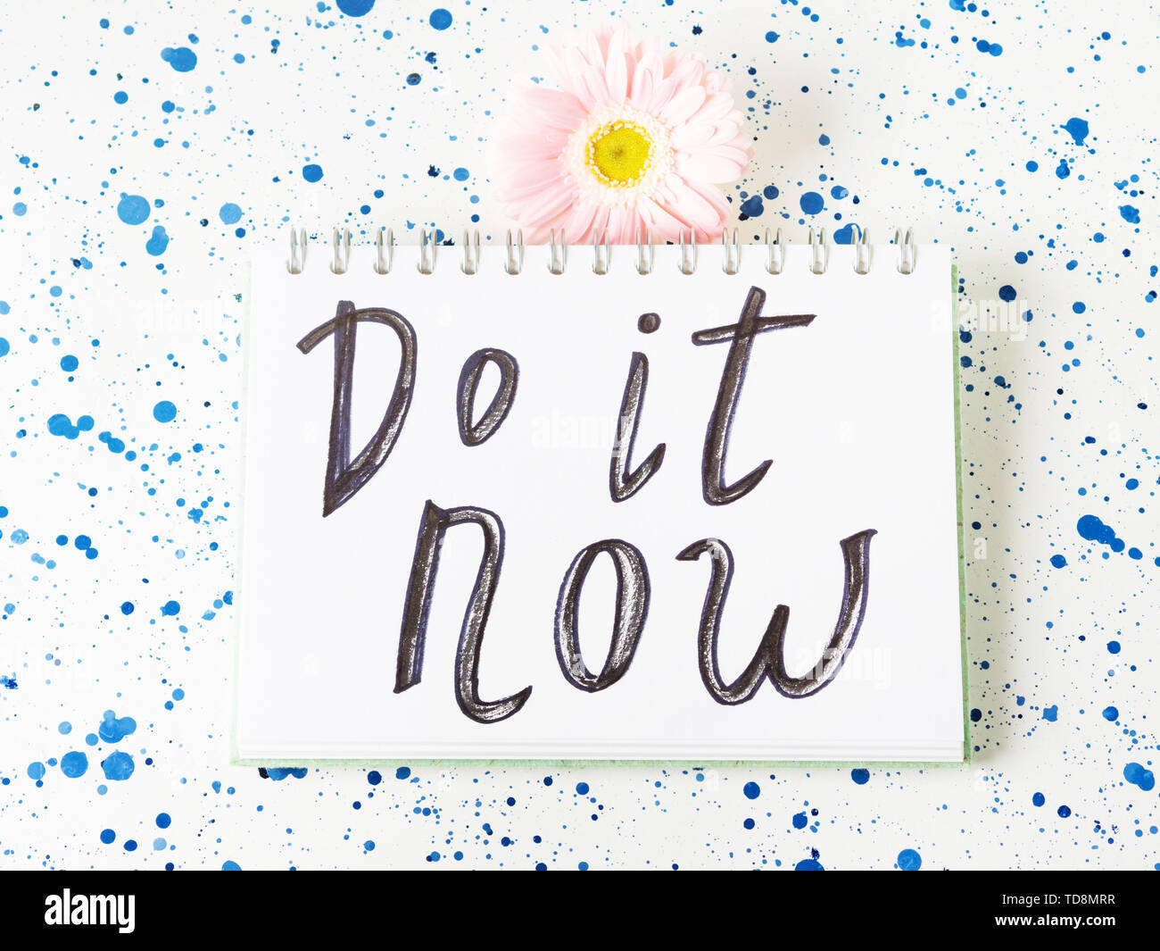 Do it now inspirational quote. Self motivation concept. Call to action. - Stock Image