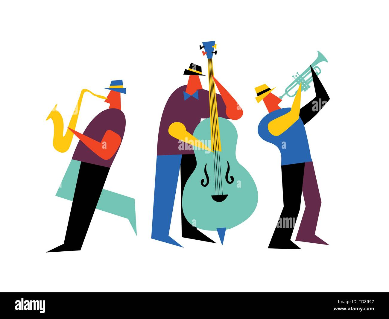 Jazz band on isolated white background. Male music players with saxophone, double bass and trumpet. - Stock Image