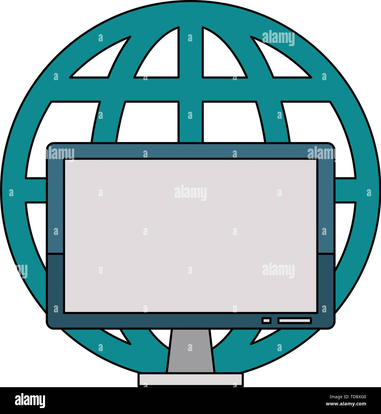Computer hardware screen with global sphere symbol - Stock Image