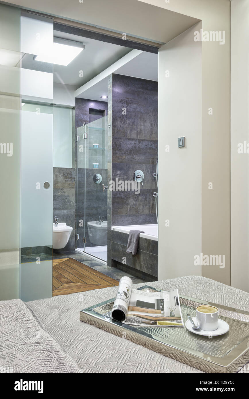 Glass Sliding Door With Horizontal Stripes At Modern