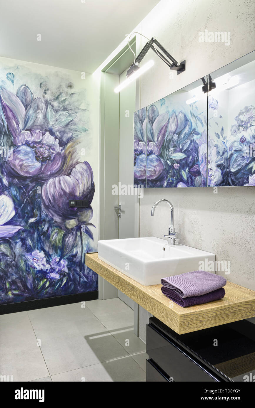 Flowers Painted By Artist On Wall In Modern Bathroom Uk Irish Use Only Stock Photo Alamy