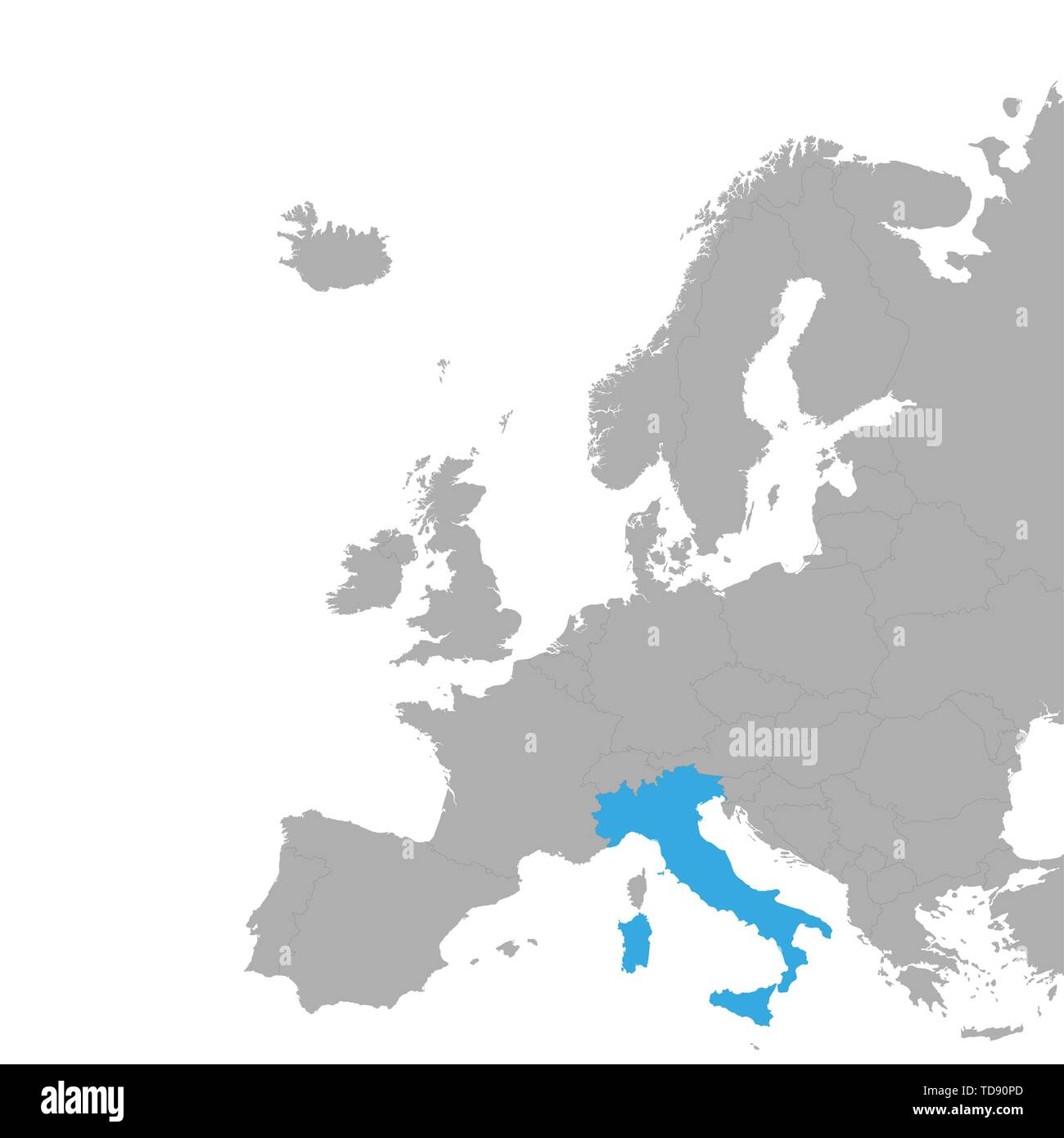 The Map Of Italy Is Highlighted In Blue On The Map Of Europe
