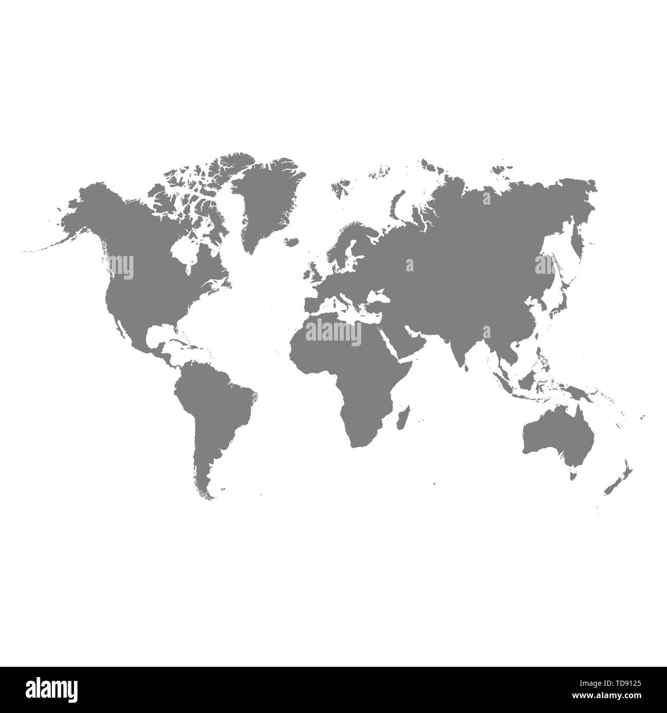 Vector world map isolated on white back - Stock Image