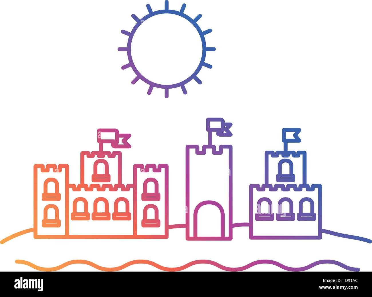 silhouette of sand castle on white background - Stock Image