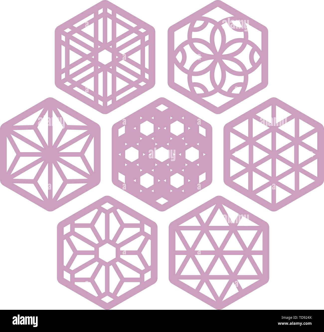 Vector illustration. Seven hexagonal coaster in soft color. Laser cut compatible. - Stock Image