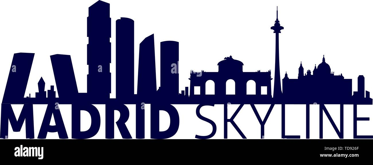 Vector illustration. Madrid - Spain city skyline silhouette. Laser cut compatible. - Stock Image