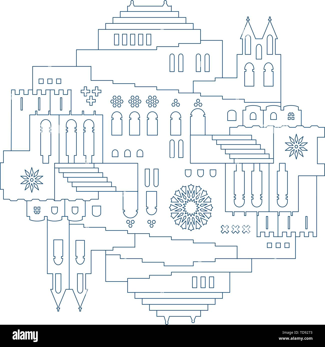 Vector illustration. Symmetric oriental city illustration in line style. - Stock Image